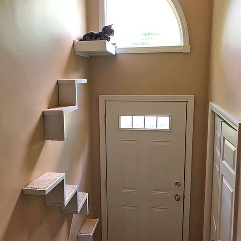 Indoor perch and floating wall cat stair